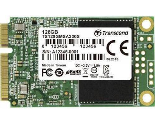 Твердотельный диск 128GB Transcend MSA230S, mSATA, SATA III, 3D TLC [ R/W - 400/550 MB/s]